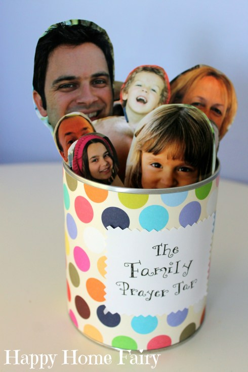 Family Prayer Jar - cut out photos of family members, tape to popsicle sticks, put in jar and have your child choose one or two each night at prayer time! This is ADORABLE!