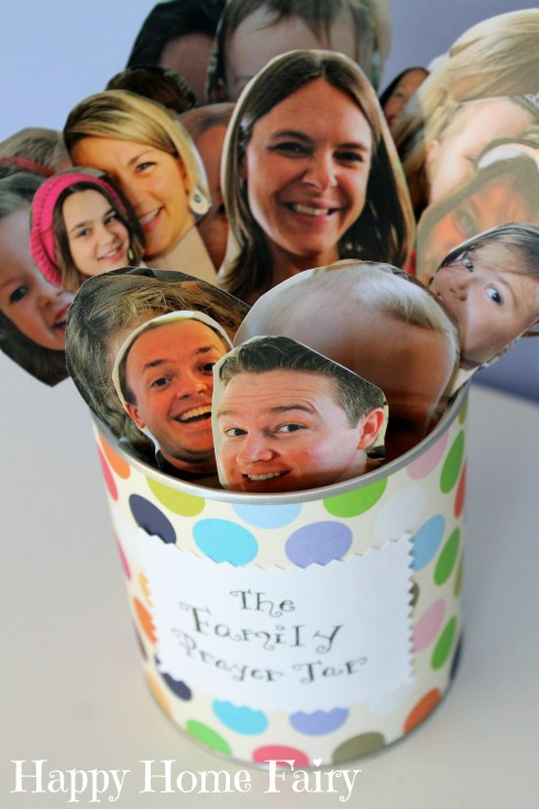 Family Prayer Jar - cut out photos of family members, tape to popsicle sticks, put in jar and have your child choose one or two each night at prayer time! This is so ADORABLE!