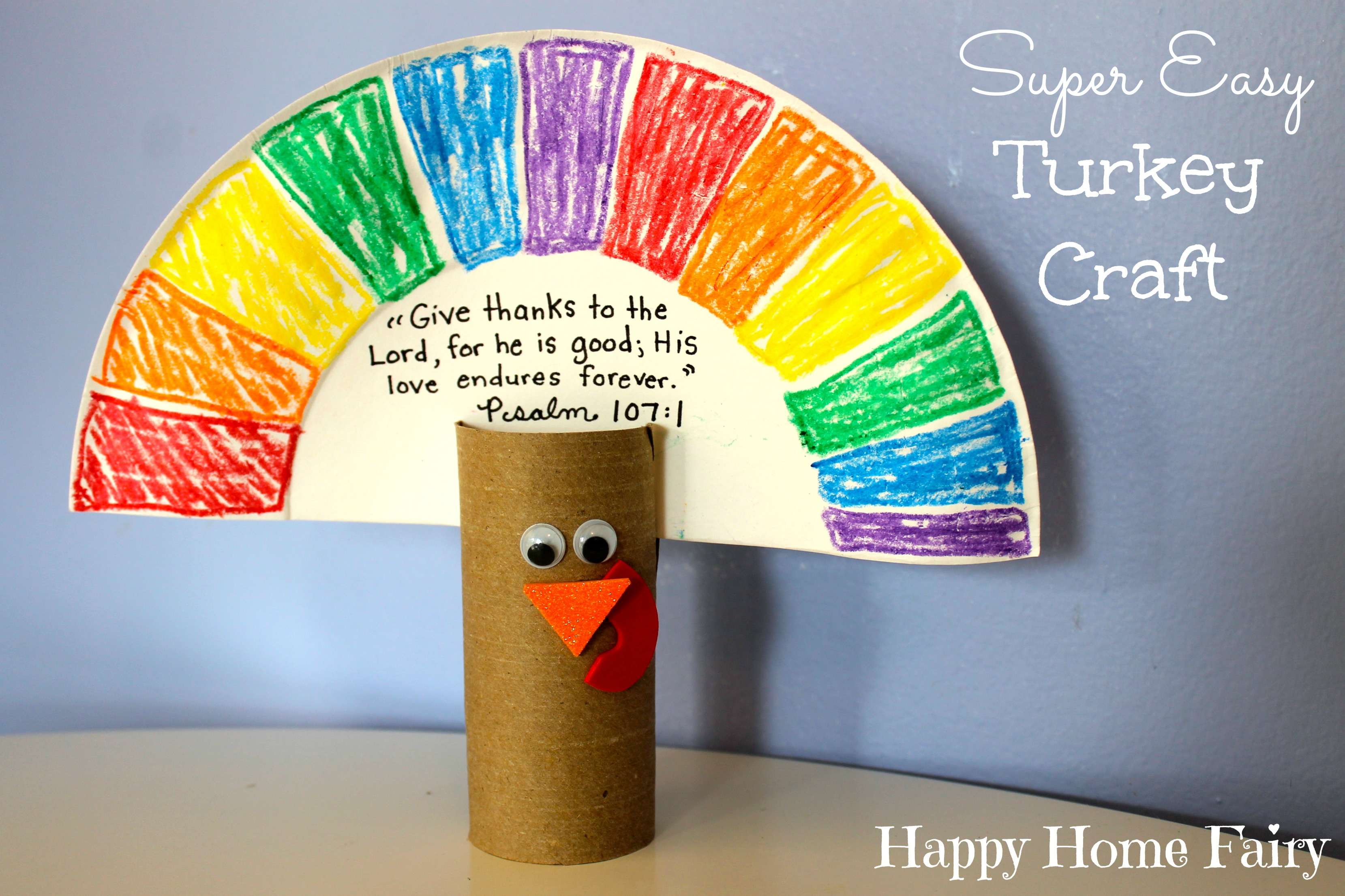 easy turkey craft - paper plate tp roll googly eyes red and orange & SUPER Easy Turkey Craft - Happy Home Fairy