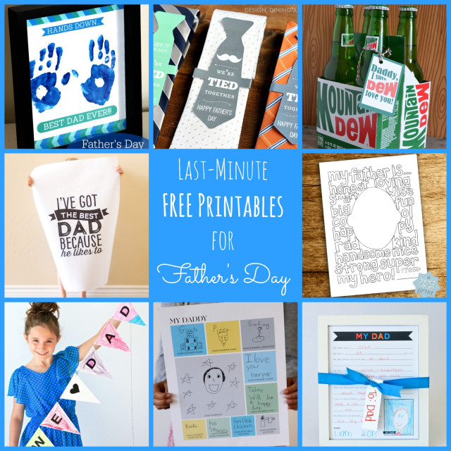 adorable collection of last-minute free printables for father's day! these are perfect!
