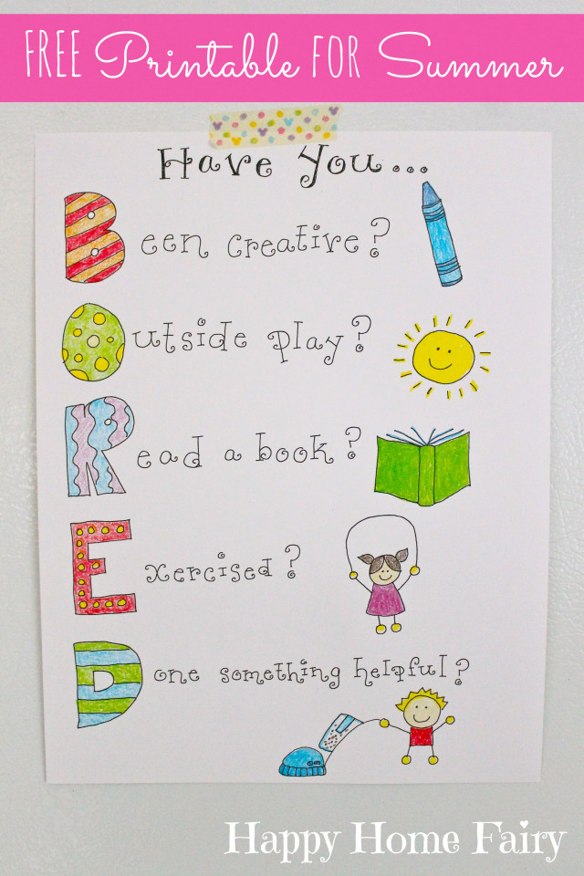 FREE Printable BORED sign for summer!