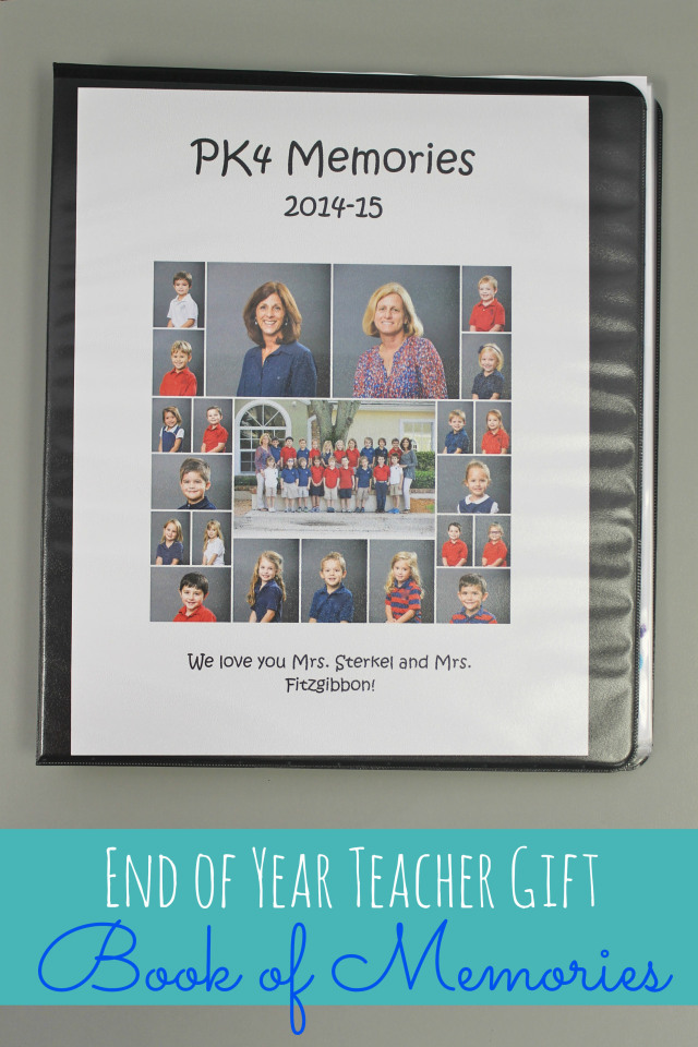 end of year teacher gift - book of memories! free printable included! this would be easy to do and the teachers will love it!