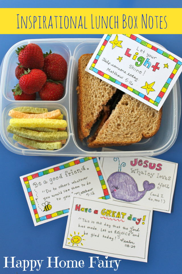 FREE Printable inspirational lunch box notes! these are absolutely adorable. such a great way to sneak a little of Jesus' love into my kid's day!