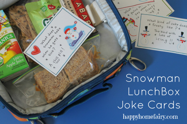 free printable snowman lunchbox joke cards at happyhomefairy.com! these are hilarious!!