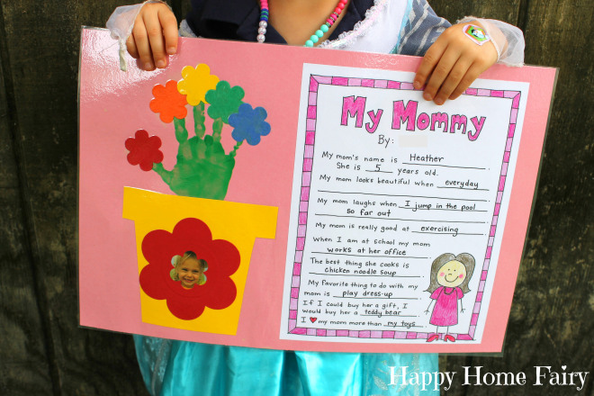 image relating to Free Printable Mothers Day Crafts identify A Moms Working day Venture - No cost Printable! - Delighted Dwelling Fairy