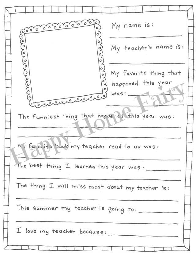 picture relating to Teacher Favorite Things Questionnaire Printable titled Close of Yr Trainer Present - E book of Recollections (Cost-free Printable