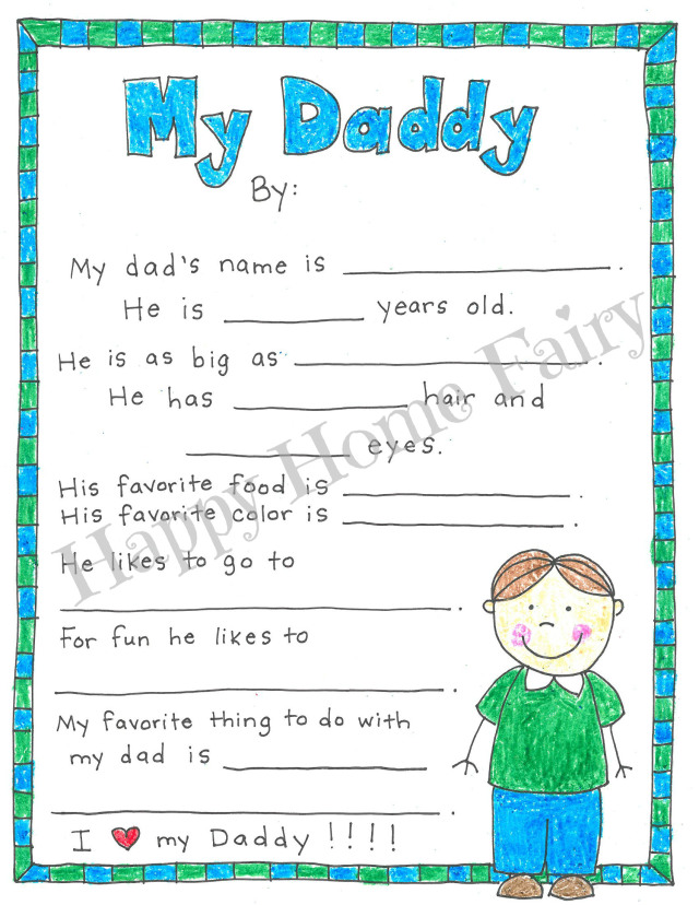 image about All About My Dad Printable identified as A Fathers Working day Venture - Free of charge Printable - Satisfied Household Fairy