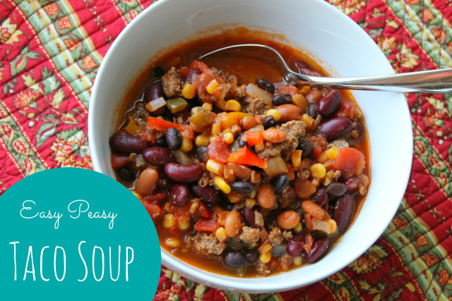 Super yummy, super easy taco soup recipe at happyhomefairy.com. I can't wait to make this for my family!