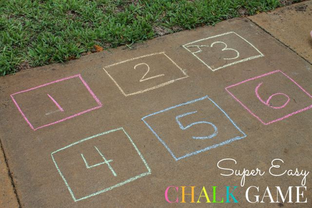This super easy chalk game will get your kiddos outside and counting! So much fun!