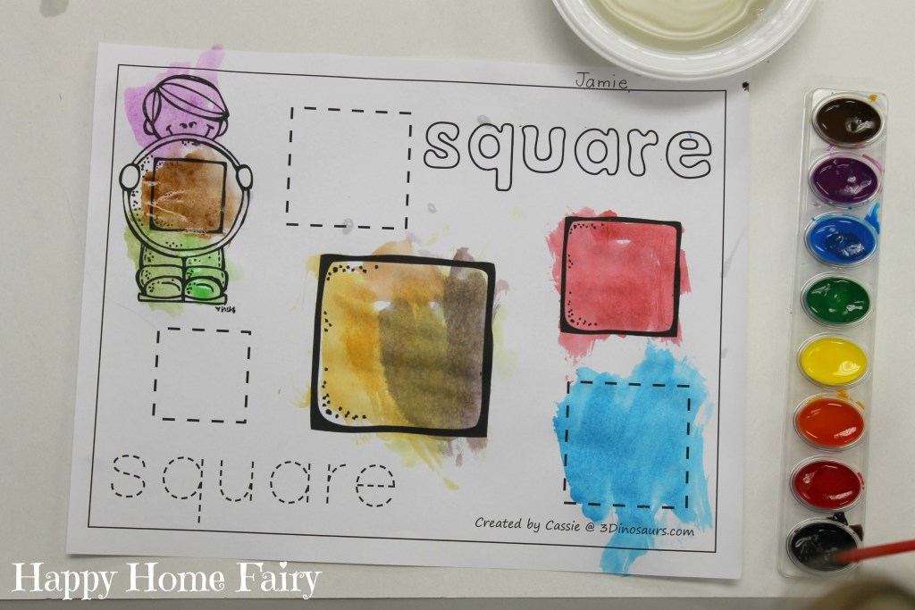 preschool teaching shapes - squares 3
