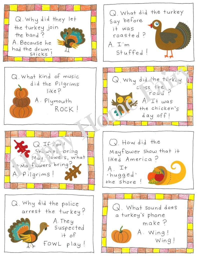 Thanksgiving Lunch Box Notes - so cute