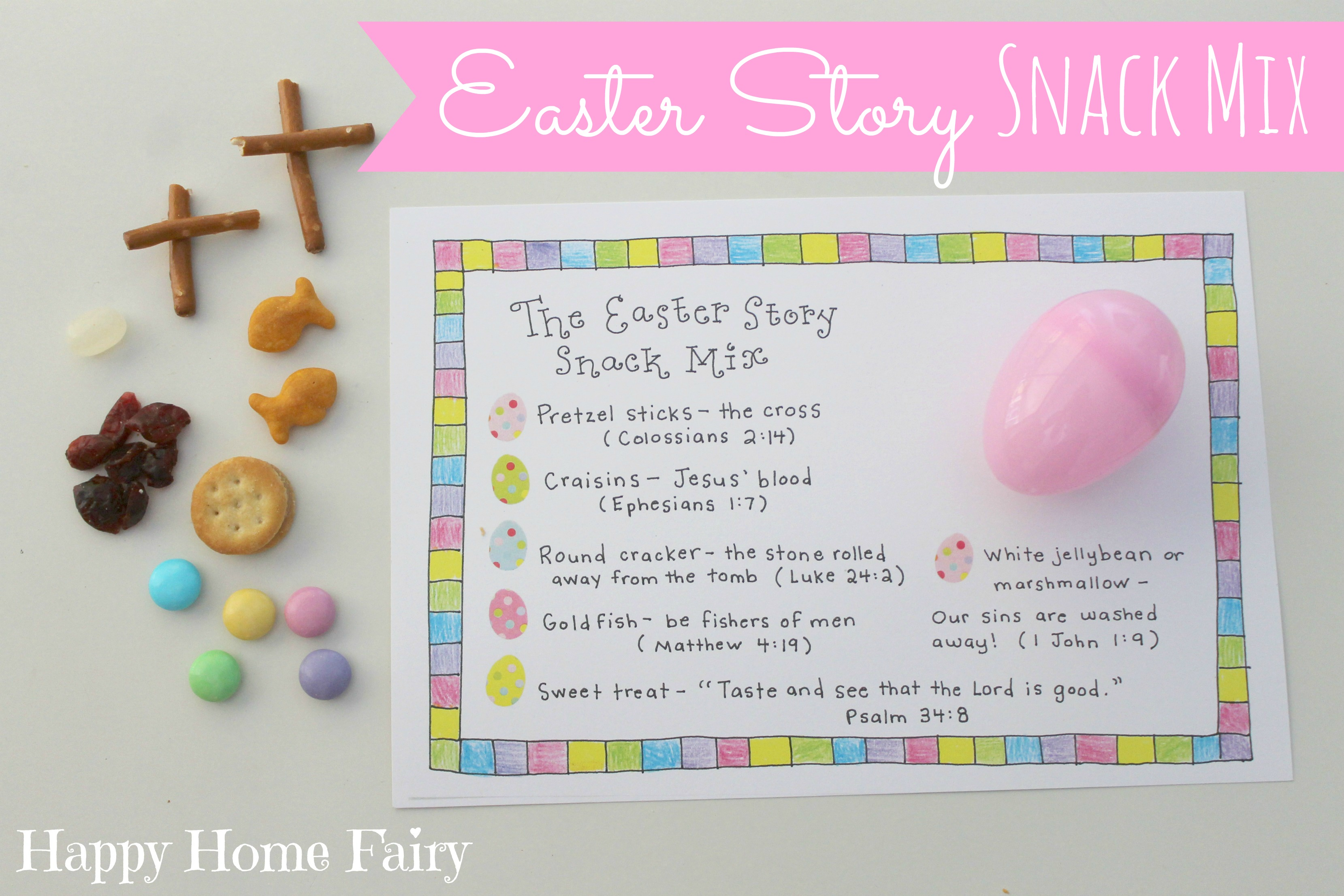 image about Resurrection Egg Story Printable identified as Easter Tale Snack Merge - No cost Printable - Joyful Residence Fairy