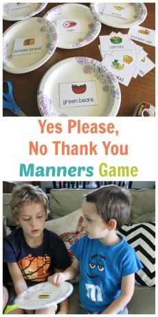 Yes Please, No Thank You Holiday Meal Manners Game – FREE Printable AND Giveaway!