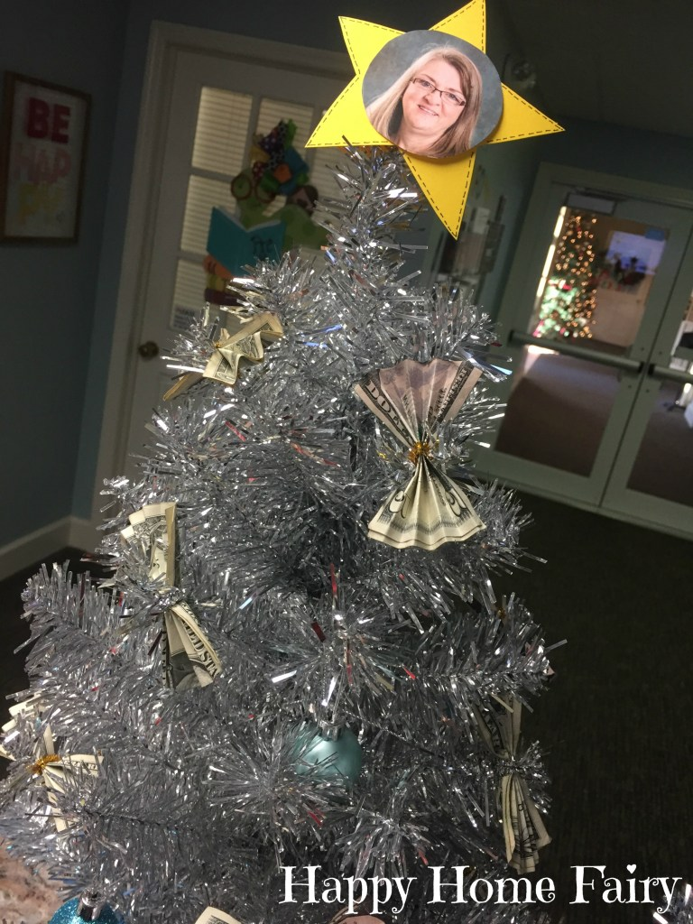 How to make a money tree happy home fairy i put a star on top of our trees with the teachers faces negle Image collections