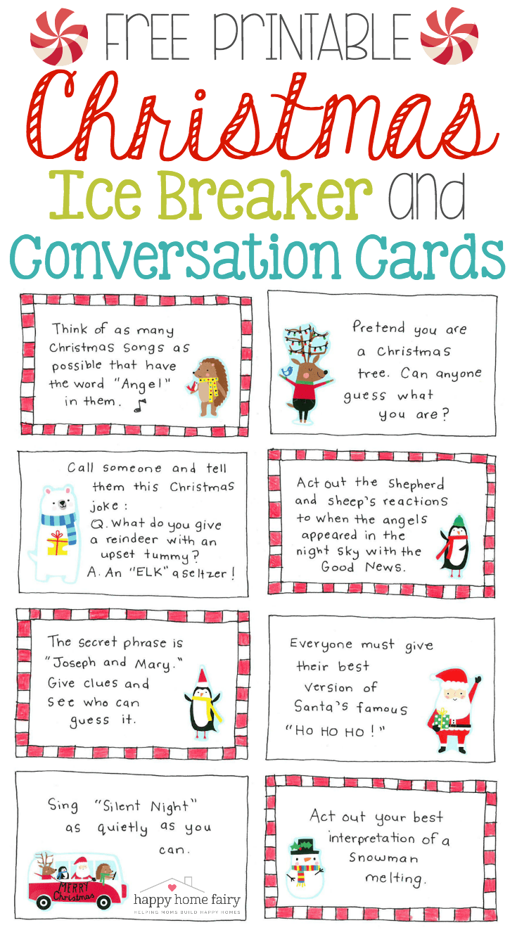 Christmas Ice Breaker And Conversation Cards Free Printable Happy Home Fairy