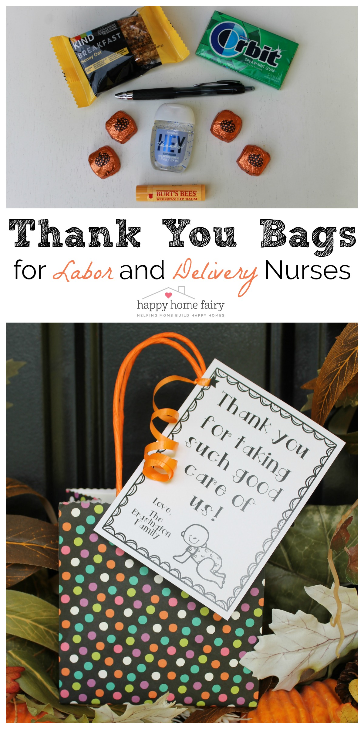 THANK YOU BAGS FOR LABOR AND DELIVERY NURSES
