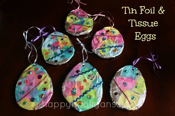 Tin Foil And Tissue Paper Easter Egg Craft Happy Hooligans