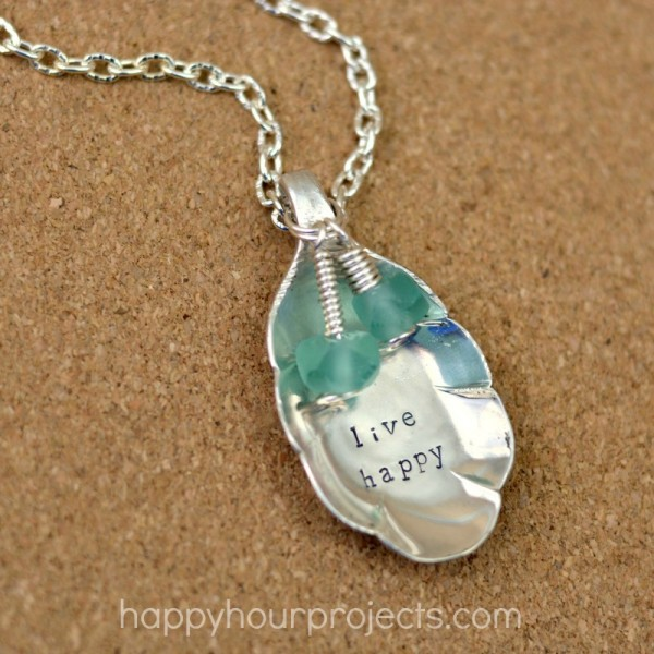 Upcycled Silver Spoon Stamped Necklace at www.happyhourprojects.com