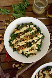 Healthy Quinoa Bowls with Kale, Carrots and Tahini Turmeric Dressing