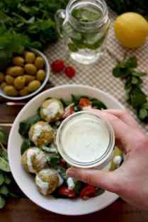 Crispy Baked Falafel with Hazelnuts and Lemon-Mint Sauce