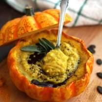 Easy Pumpkin Soup with Millet in Pumpkin Bowls