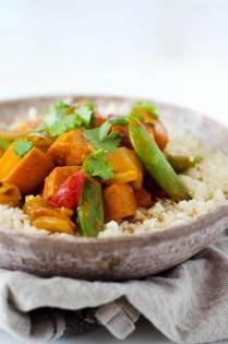 Vegetarian red curry stir fry dinner recipe