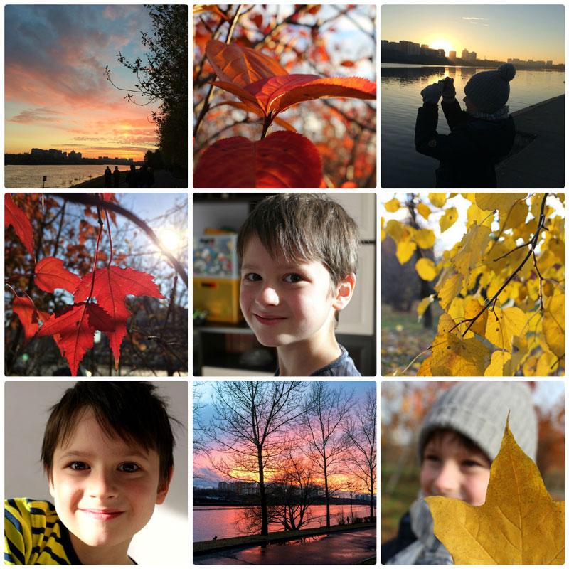 Осень и красивый мальчик, коллаж.