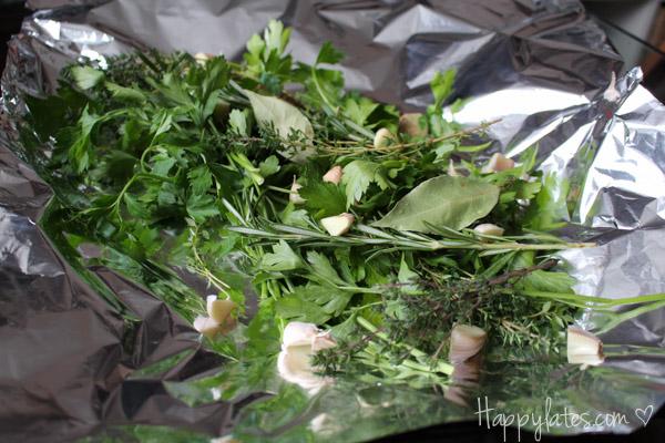 Свежие травы для запекания семги