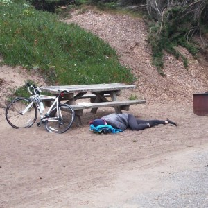 Exhausted bicyclist this morning is Site #2
