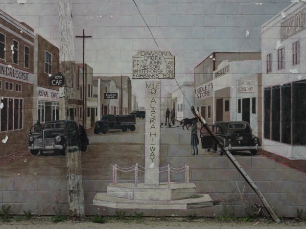 "This mural shows what the ""Mile 0"" marker looked like in the 1940s"