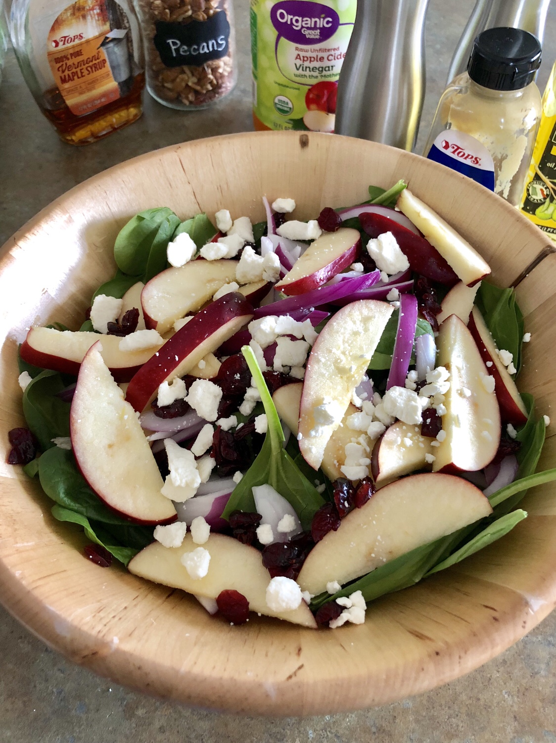 Mix in the feta cheese and the dried cranberries.