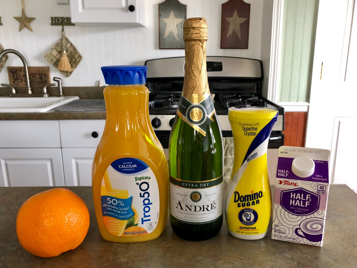 Creamsicle Mimosas ingredients list #creamisclemimosa #mimosa #creamsicle #brunch #brunchrecipes