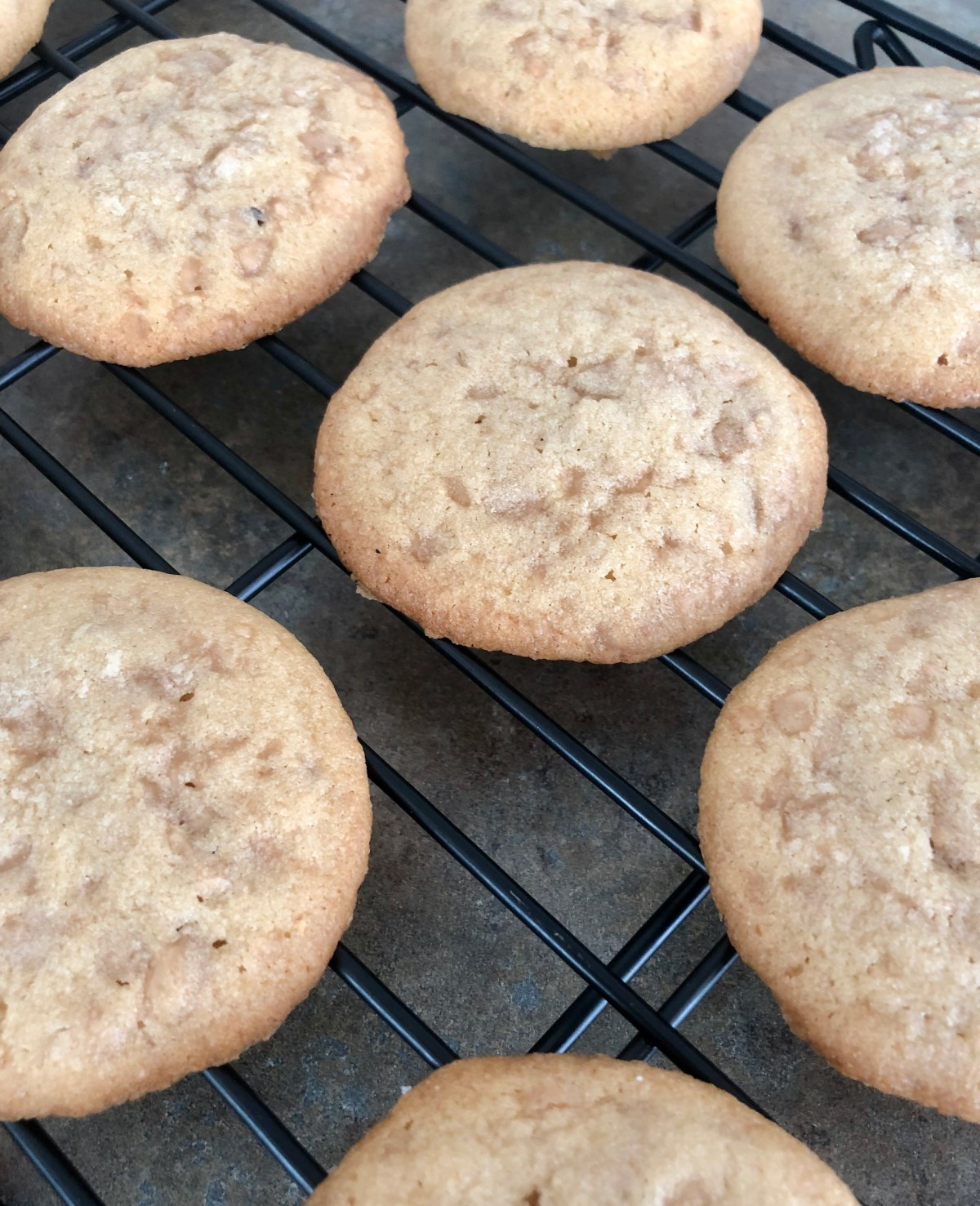 Toffee Cookies cooling on a wire rack.