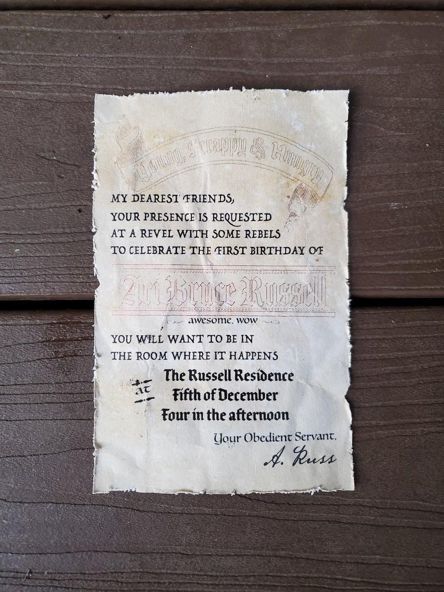 Photo of Hamilton invitation