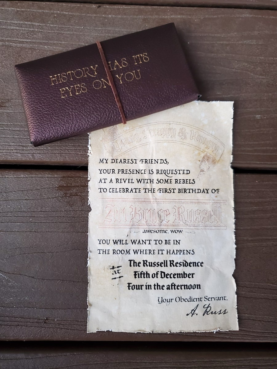Photo of front of faux brown envelope, Hamilton party invitation