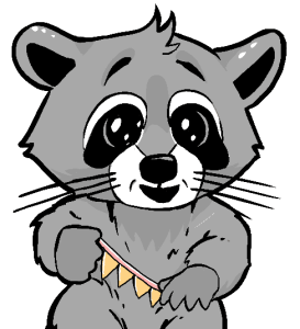 Drawing of a cartoon raccoon holding a yellow banner