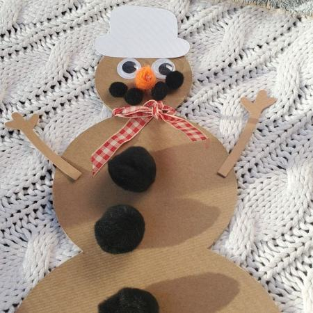 Photo of snowman made from chipboard, pom pom smile, white hat, orange carrot nose, googly eyes, ribbon scarf