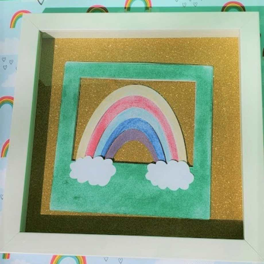 Framed picture of a rainbow