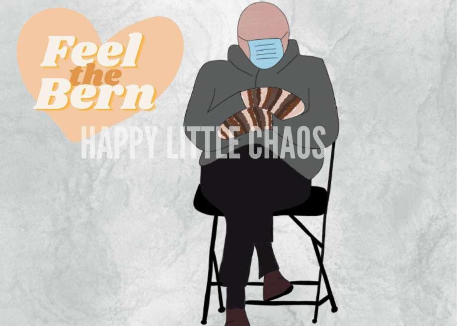 Digital painting of Bernie Sanders sitting with text Feel the Bern