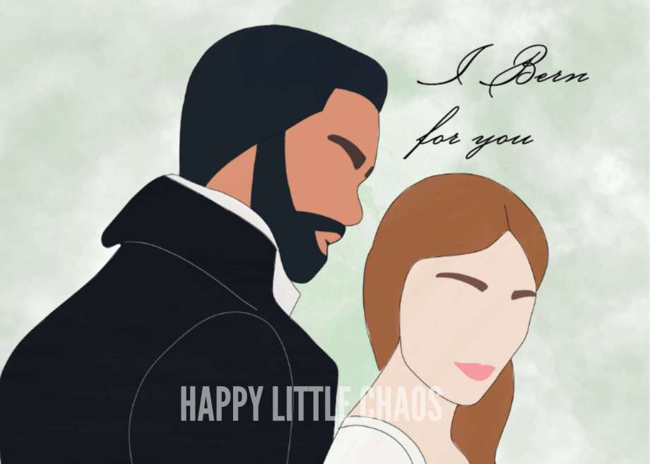 Digital painting of two people with text I Bern for you