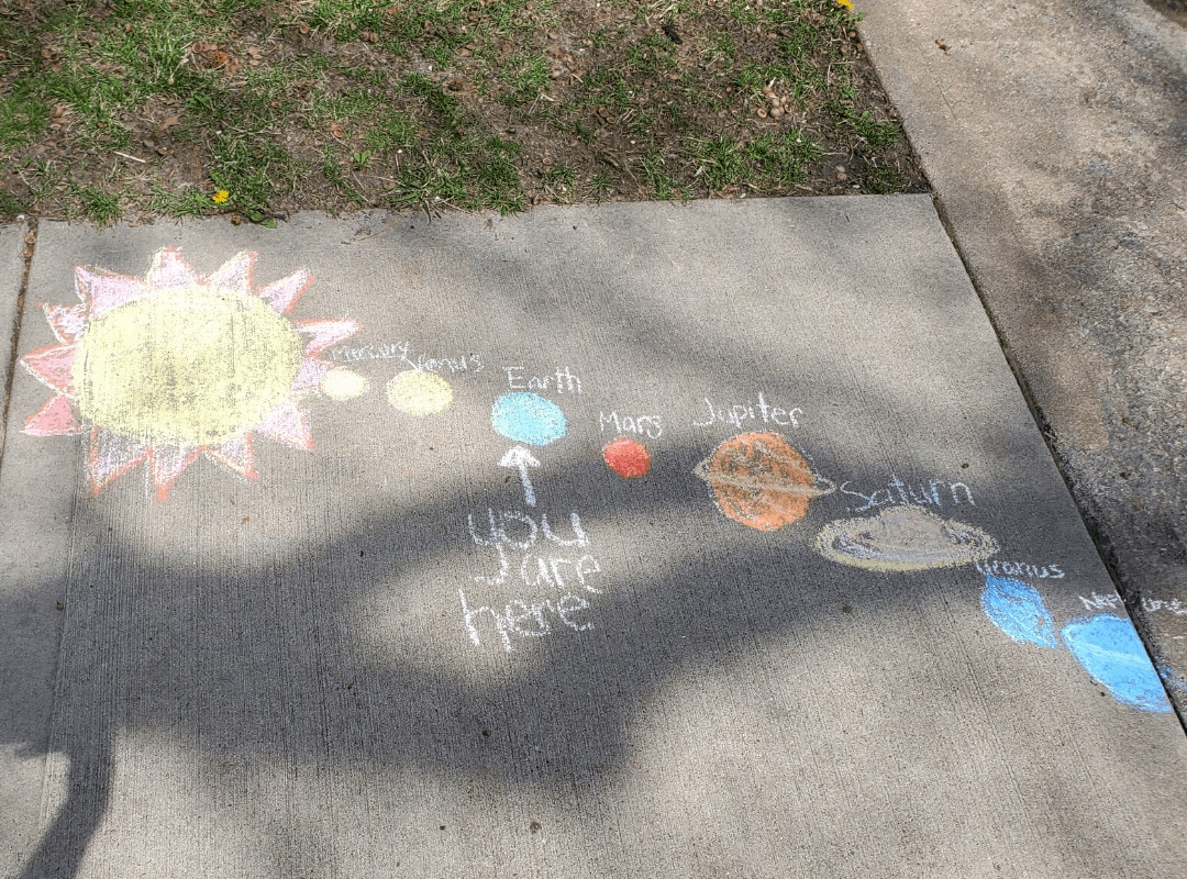 Picture of a solar system drawn in chalk on a sidewalk