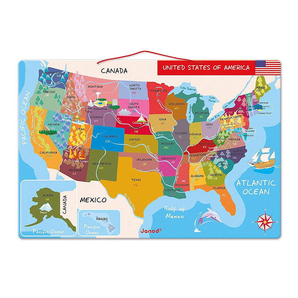 Janod Magnetic USA Map Puzzle - Happy Little Tadpole