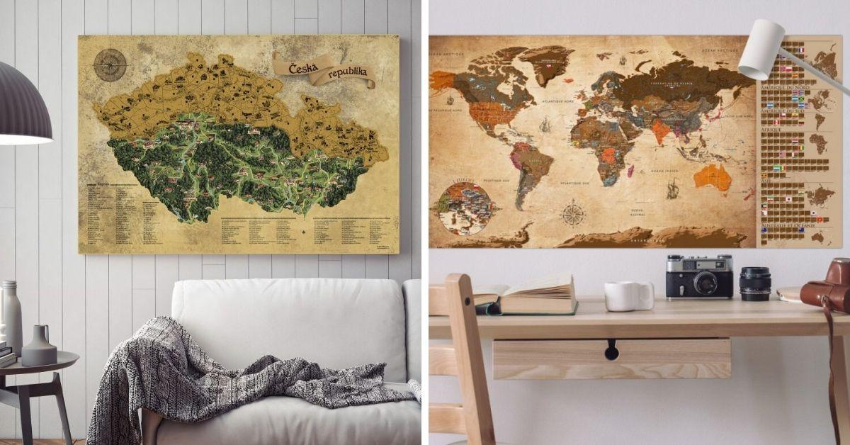 Stírací mapa Česka nebo světa: originální dárek pro cestovatele