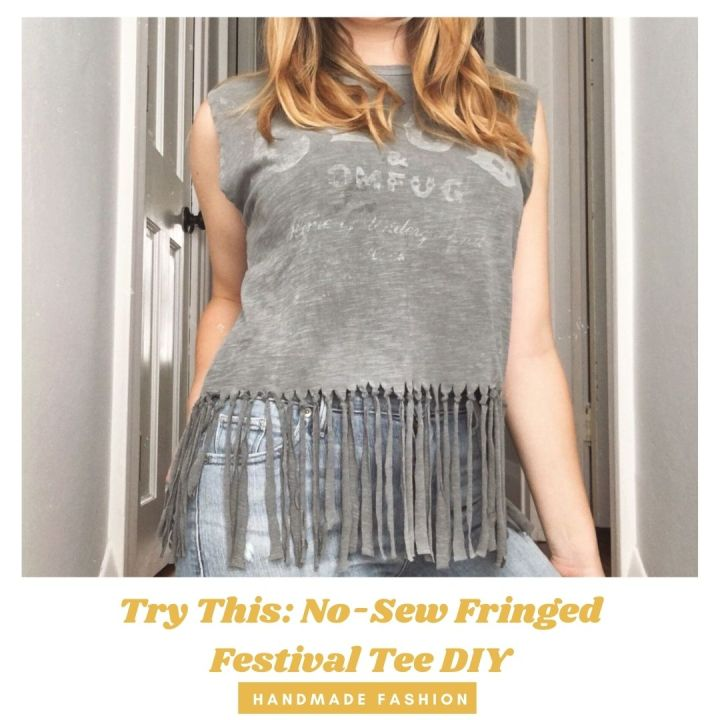 Try This: No-Sew Fringed Festival Tee DIY