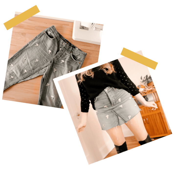 How To Refashion A Denim Skirt From Jeans