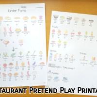 Restaurant Pretend Play printable
