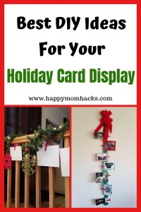 Easy DIY Holiday Card Displays! Families will love creating these cool clothespins to hold your christmas card display. Use Ribbon to decorate your stairs and walls. Or clip the pictures to your tree. Fun Holiday Card Display to easily decorate your house. #holidaydisplay, #christmascarddisplay