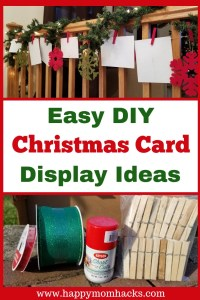 DIY Christmas Card displays Ideas for your holiday cards. All you need is clothes pins and ribbon to make homemade Christmas decorations. Make these DIY Crafts for your stairs, walls, around doors or fireplaces. Make your home Festive for Christmas without breaking the bank! #christmasdecorations, #holidaycards, #christmascarddisplay