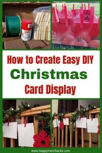 Best DIY Christmas Card Display Ideas everyone can make. Perfect for hanging on a wall, stringing up on stairs or in a Doorway. Use the clothespins to make a beautiful display on your Christmas Tree too. The kids can even help with this project. A cheap and easy christmas card display you'll love. #diychristmas, #christmascarddisplay, #holidaydisplay