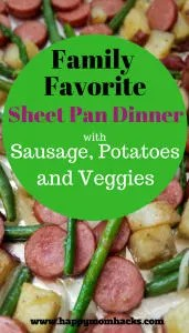 Sausage & Potatoes Sheet Pan Dinner. This easy dinner recipe is a family favorite. The best part is you only having one pan to clean which make it a perfect weeknight meal! #familymeal, #sheetpandinner, #sausagedinner